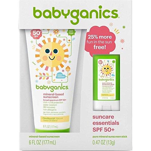LOT OF 6 Babyganics Sunscreen Lotion & Face Stick Mineral Ba