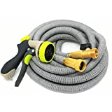 Expandable Garden Hose- Strongest UPGRADED 50ft Triple Latex Core Expanding Hose With All Sollid Brass Connectors, 8-Pattern Spray Nozzle + Storage Bag For Top Convenience In Use & Storage