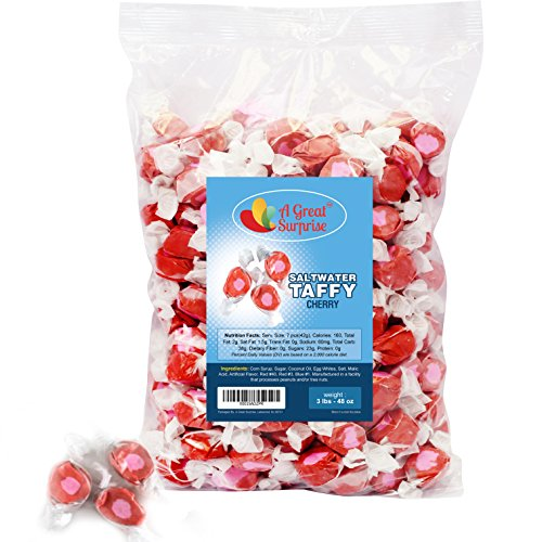 Saltwater Taffy - Saltwater Taffy Cherry - Salt Water Taffy from Jersey Shore - Bulk Candy, 3 LB Party Bag, Family Size