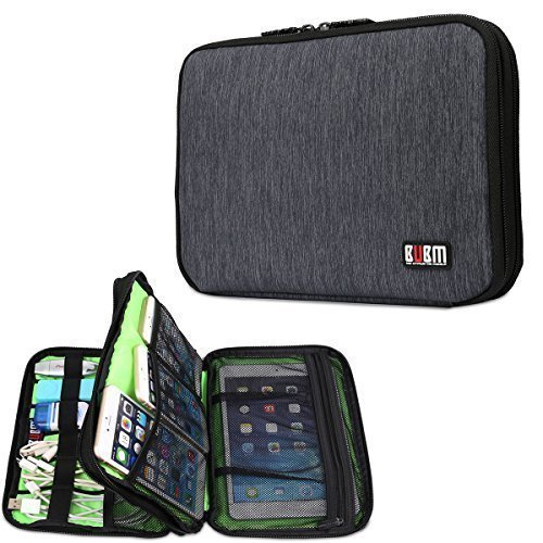 Price comparison product image BUBM Universal Cable Organizer Electronics Accessories Case Various USB, Phone, Charger, Cable organizer Travel Organizer Cosmetic Bag- Double Layer Black