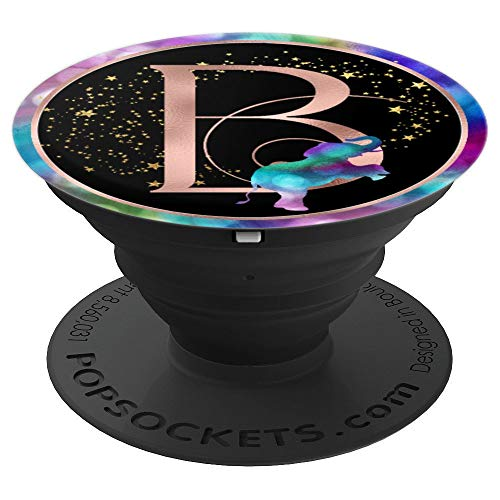 Rose Gold B Initial - Rainbow Elephant - PopSockets Grip and Stand for Phones and Tablets