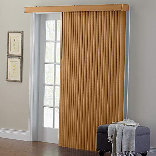 Faux Wood Vertical Blinds - BrylaneHome Embossed Vertical Blinds - Taupe, 42I W 63I L