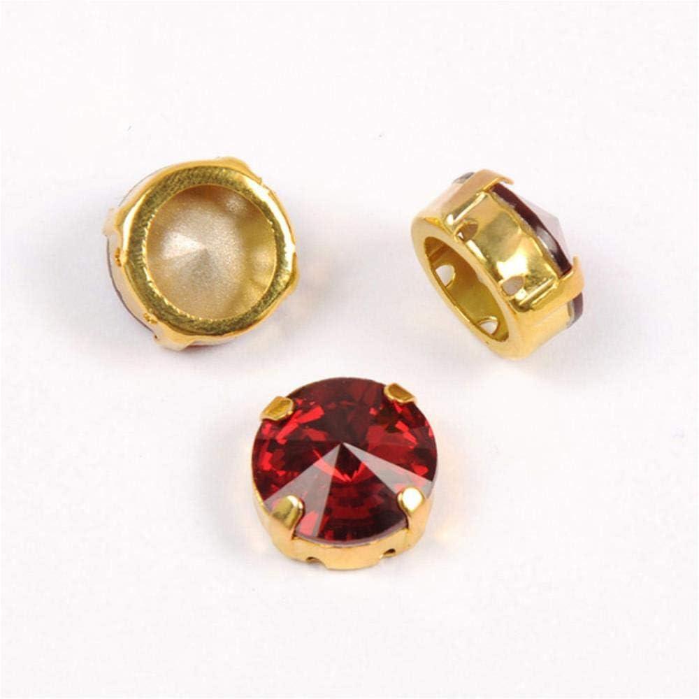PENVEAT 1122 Todos los tamaños Diamantes de imitación Rojo Claro Siam Cristal Strass K9 Punto Volver Cristal Coser en Piedras para Ropa, con Garra Dorada, 18 mm 5 Piezas