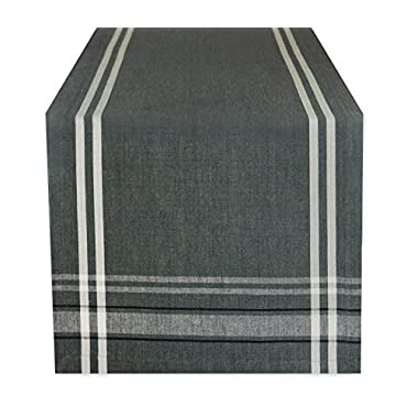 DII 100% Cotton, Machine Washable, Everyday French Stripe Kitchen Table Runner For Dinner Parties, Events, Decor 14x72  - Gray Chambray