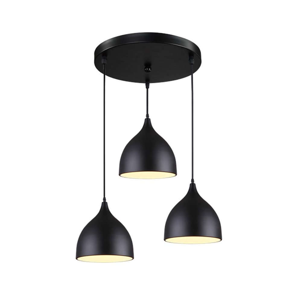 TOYM US- Aluminum chandelier chandelier creative personality restaurant aisle bar table three disc chandelier ( Color : Black )