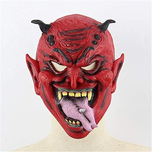 xiaohan Halloween Mask Latex Realistic Horny Nightshade Hell Devil Halloween Party Performance Props Horror Mask -