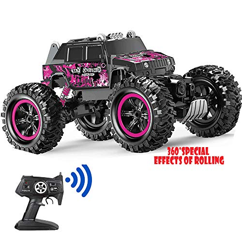 Remote Control Car Pink 360° Stunt Tumbling Waterproof Monster Truck, Boy and Girl Adult Children Can Control The Toy