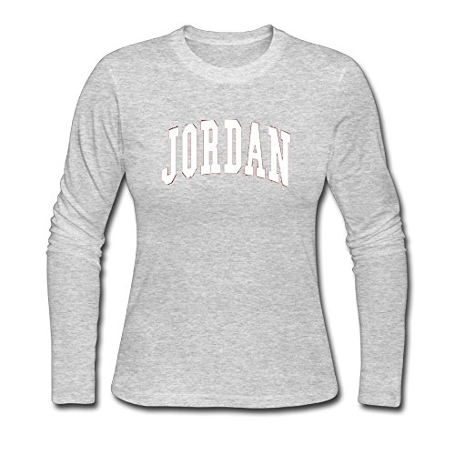 Women's Long Neck Sleeve JORDAN.png Cotton Shirt SizeKey1 Gray by Haoshouru