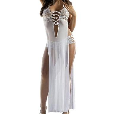 Lenfesh Lencería Erotica Tallas Grandes Mujer, Mujeres de Moda Sexy Vestido Larga Tul Falda Tentación Sexy Ropa Interior Camisón, Blanco, Talla Grande: ...