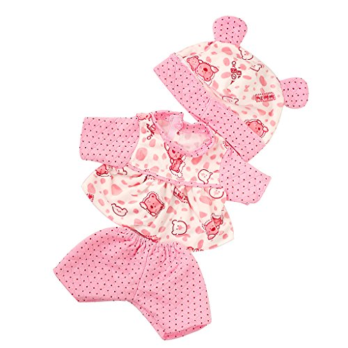 MagiDeal Pink Dots Pajamas + Bear Hat Clothes Outfit for 43-45cm Zapf Baby Born Doll