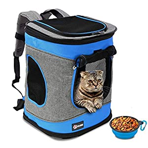 Tirrinia Large Pet Backpack Carrier for Small Cats & Dogs   Two-Sided Entry Airline-Approved, Padded Back Support Travel…