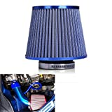 JKCOVER Gratifying Jump Forward 3'' 76mm Cold Air Intake Filter Auto Vehicle Car with Cleaner Dual Funnel Adapter For Turbo Racing - Blue