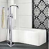 Rozinsanitary Luxury Floor Mounted Waterfall Bathtub Faucet Single Handle Mixer W/ Hand Shower