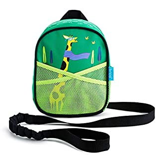 Brica by-My-Side Toddler Safety Harness Backpack with Leash, Giraffe, Green