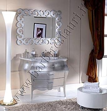 mobile bagno bombato foglia argento barocco moderno: Amazon ...