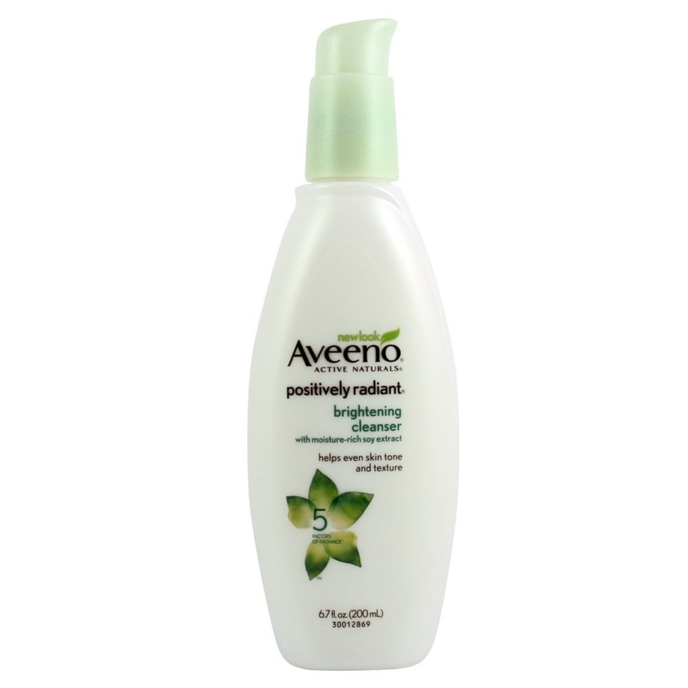 Aveeno Positively Radiant Brightening Facial Cleanser for Sensitive Skin, Non-Comedogenic, Oil-Free, Soap-Free & Hypoallergenic, 6.7 fl. oz (Pack of 4)