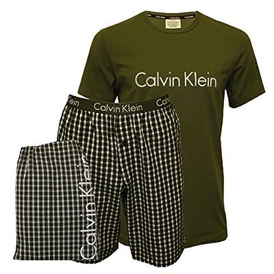 Calvin Klein Men's Short-Sleeve T-Shirt & Pyjama Shorts in a Gift Bag, Khaki/Grey