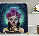 Horror Shower Curtain by Ambesonne, Scary Clown like Girls Showing her Hands with Gloves an Flowers in Her Head Print, Fabric Bathroom Decor Set with Hooks, 70 Inches, Multicolor