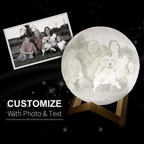 Custom Made 3D Moon Lamp Engraved with Your Picture Or Words as Perfect Gift, LED USB Charging Luna Lamp with Touch Control, White and Yellow Color Changeable and Dimmable