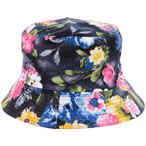(BYOS Fashion Packable Reversible Black Printed Fisherman Bucket Sun Hat, Many Patterns (Blooming Flower)