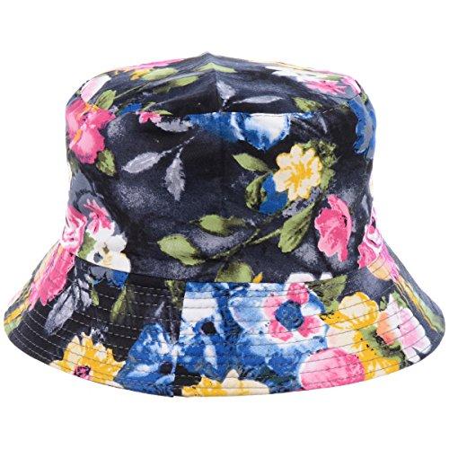 BYOS Fashion Packable Reversible Black Printed Fisherman Bucket Sun Hat, Many Patterns (Blooming Flower Multi)