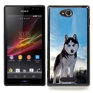 SKCASE Center / Funda Carcasa protectora - Happy Dog Husky;;;;;;;; - Sony Xperia C