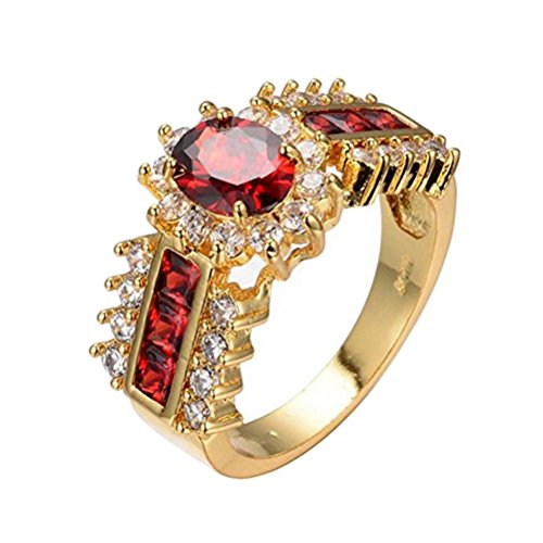 UOKOHO Red Jewelry Red Rings for Women Engagement Wedding Band 10KT Yellow Gold Filled Crystal Ring Size ()