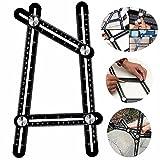 Full Metal Multi Angle Measuring Tool - Aluminum Alloy Universal Multi Angle Ruler -Ultimate Template Tool-Functional Scale Ruler(Black)