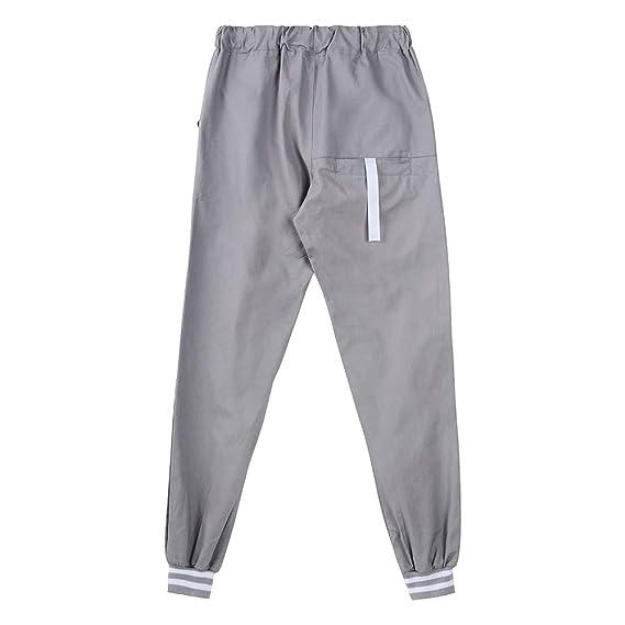 YanHoo Medias de Fitness Pantalones de chándal de Bolsillo Sueltos sólidos Ocasionales del Remiendo del Bolsillo