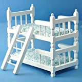 Dollhouse Miniature White Wooden Bunk Beds with Ladder