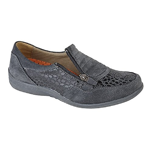 Casual Zip Fitting Ladies Shoes Print Wide Boulevard Womens Reptile Grey W16vqB10p