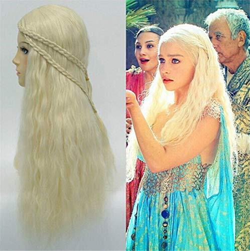 Longlove Daenerys Targaryen Costume Wigs for Game of Thrones Mother of the Dragons Khaleesi Halloween Cosplay Hair Wig Wavy Curly (Daenerys Targaryen) ()