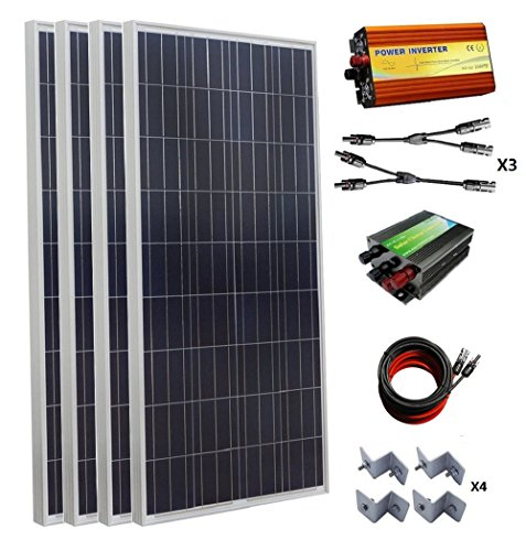 ECO-WORTHY 600W 12V Off Grid Solar Power System: 4pcs 160W Poly Solar Panel+45A Charge Controller+1000W Pure Sine Wave Inverter+MC4 Solar Cable+MC4 Branch Connector Pair+Solar Panel Mounting Brackets