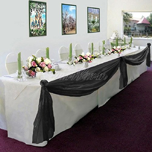 GorgeousHome 1 Black Swag Valance Scarf For Wedding Table Chair Window Wall Church Decor Pole Voile Fabric Size (6 YARD) 216 Inches ()