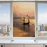 3D Decorative Privacy Window Films,Fishermen at Sunrise with Net Catching Fish River Sunbeams Boat on Water Trees,No-Glue Self Static Cling Glass film for Home Bedroom Bathroom Kitchen Office 24x36 In