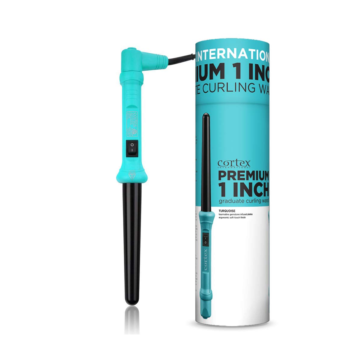 Cortex International Limited Edition Premium 1 Inch Graduated Curling Iron Cone Wand (Turquoise)
