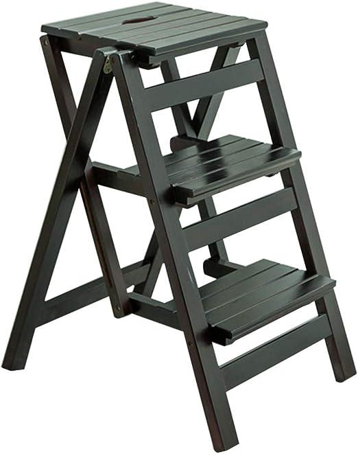 Escalera de Madera de 3 Pasos para Silla de Asiento | Escalera de Tijera de Madera Plegable multifunción | Banco de Zapatos portátil Estante de la Flor | para Cocina/Oficina/Biblioteca: Amazon.es: Hogar
