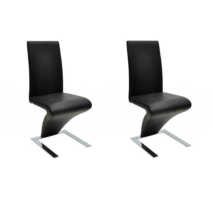 Anself 2er Set Esszimmerstuhl Küchenstuhl Schwingstuhl Stuhlgruppe mit Verchromte Füße Schwarz