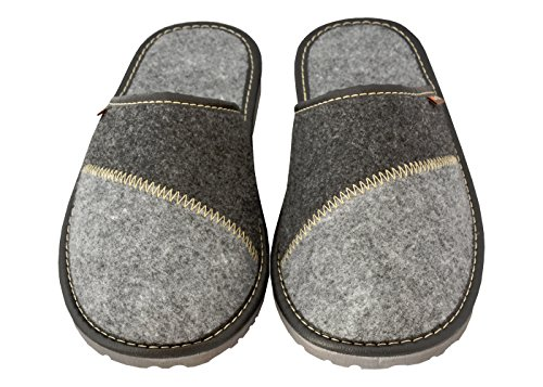 Des Ultra Profilées Mz16 Hommes Becomfy Avec léger Intérieure Semelles Caoutchouc Pantoufles Chaussures noir gris En Semelle Pour Feutre option XwqrxzZBqa