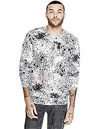 GUESS Men's Fleece Splatter Crew Neck Sweatshirt