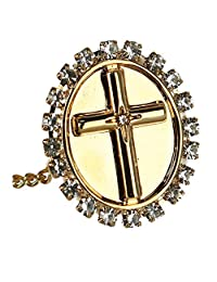 Ascentix Men's Oval Tie Tack with Crystal Accent Cross, Gold