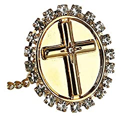 Men's Tie Tack with Crystal Accent Cross