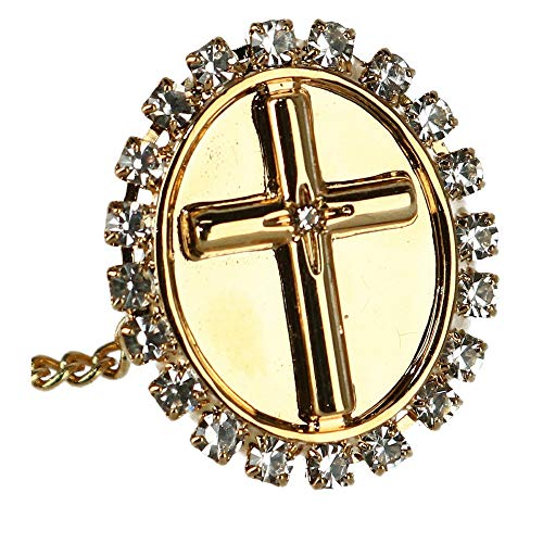 Ascentix Men's Tie Tack with Crystal Accent Cross, Gold