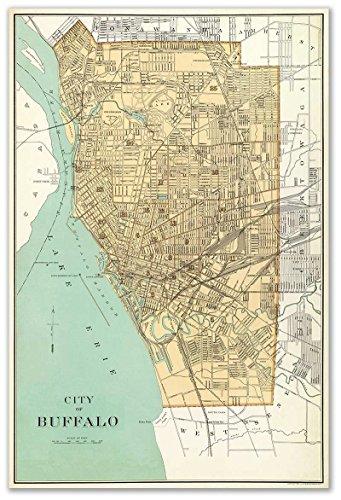 City Map of BUFFALO New York circa 1895 - measures 24