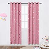 Room Darkening Curtains for Kids Bedroom, Anjee Silver Star Print Thermal Insulated Window Curtains, 52 Inches Wide by 84 Inches Long, Set of 2 Panels, Baby Pink
