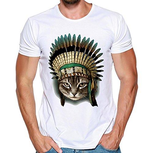 Uomo Maniche Camicia Camicetta Stampa Manica Della T Bianca Shirt Tees Maglietta Top Estive Maschi Sumtter Corta dfwqgOd