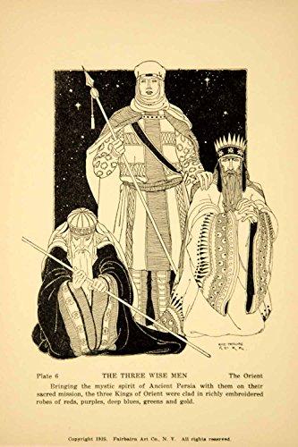 1925 Lithograph Magi Wise Men Persia Persian Kings Costume Rose Netzorg Kerr Art - Original Lithograph
