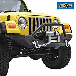 amazon com eag 97 06 jeep wrangler tj front bumper with 2x d ring