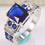 925 Silver Women Princess Cut Blue Sapphire Topaz Wedding Engagement Ring Sz6-10 (7)