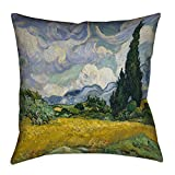 ArtVerse Vincent Van Gogh Wheatfield with Cypresses x Pillow-Faux Linen (Updated Fabric) Double Sided Print with Concealed Zipper & Insert, 16'' x 16''